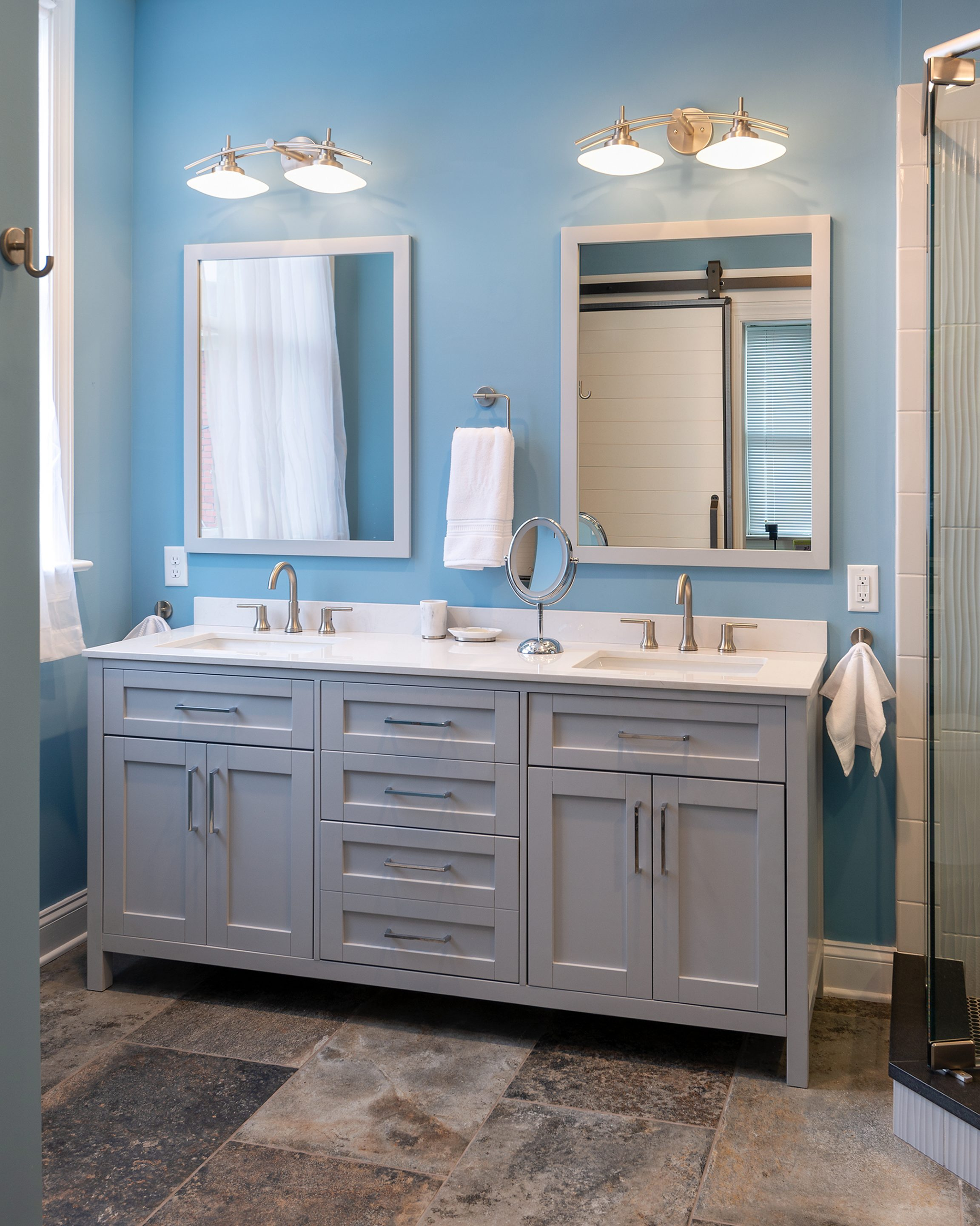 Blue Master Bathroom Remodel in Richmond at Church Hill ...